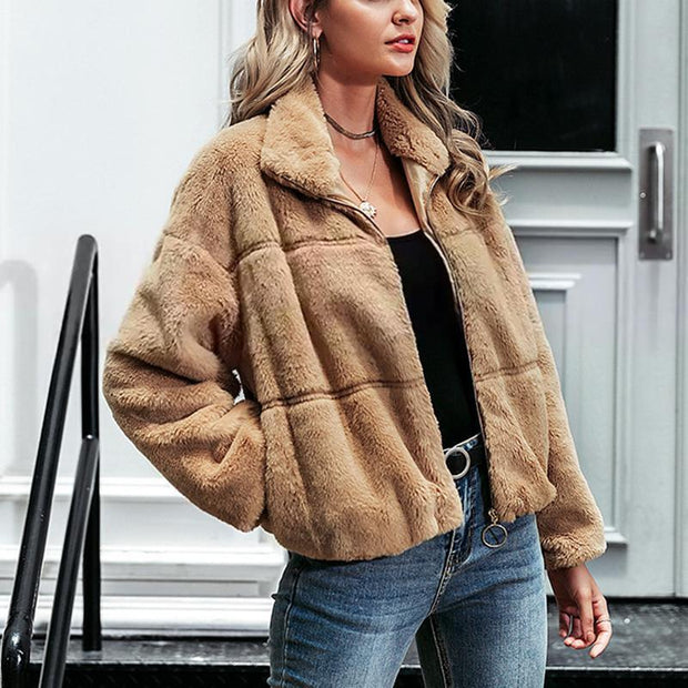Fashion khaki thick warm zipper fur coat