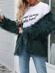 Fashion Lapel Long Sleeve Plain Fur Coats