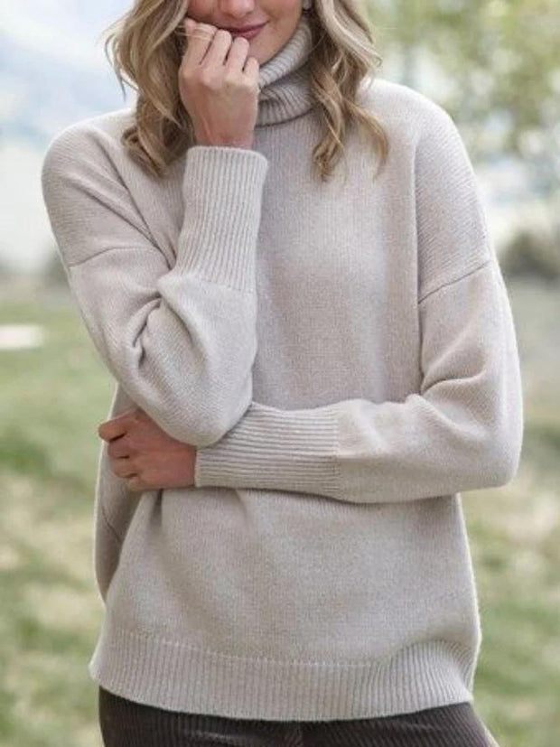 Women's high neck loose solid color sweater