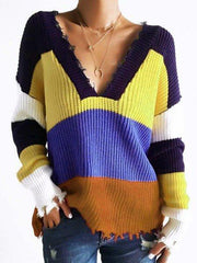 Multicolor Plus Size Long Sleeve V Neck Casual Sweater