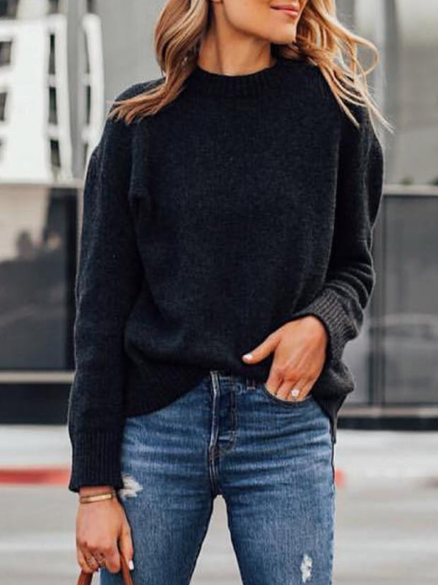 Black Casual Solid plus size Sweater