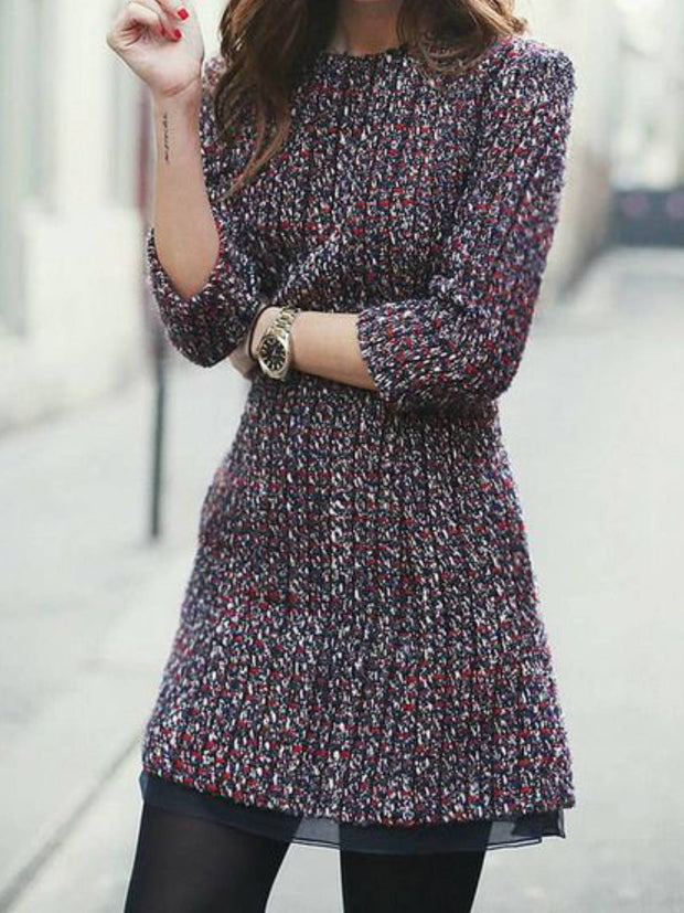 Multicolor Vintage Plain Dresses