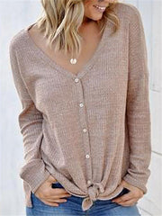 Casual Solid Color V-neck Button Knit Rib T-shirt