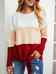 Long Sleeve Casual Plus Size Patchwork Sweatshirt