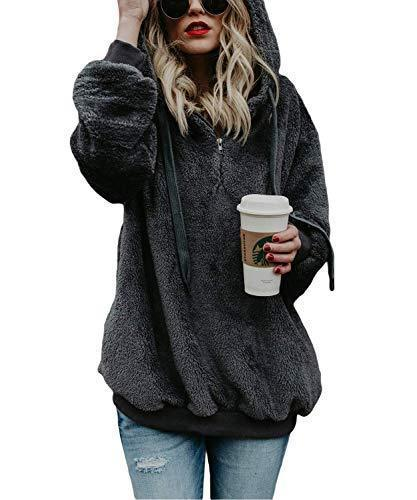 Loose Hoodies Sweatshirt Long Sleeve Zipper Fuzzy Pullover