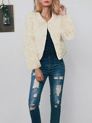 Long Sleeve Fashion Fur Mini Coats