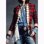NEW!!Fashion Long Sleeve Plaid Splicing Coat