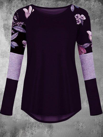 Floral-Print Long Sleeve Crew Neck Casual Shirts & Tops