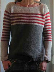 Gray Crew Neck Long Sleeve Knitted Sweater