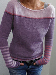 Casual Crew Neck Striped Sweater