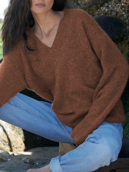 Shift Casual V Neck Solid Sweater