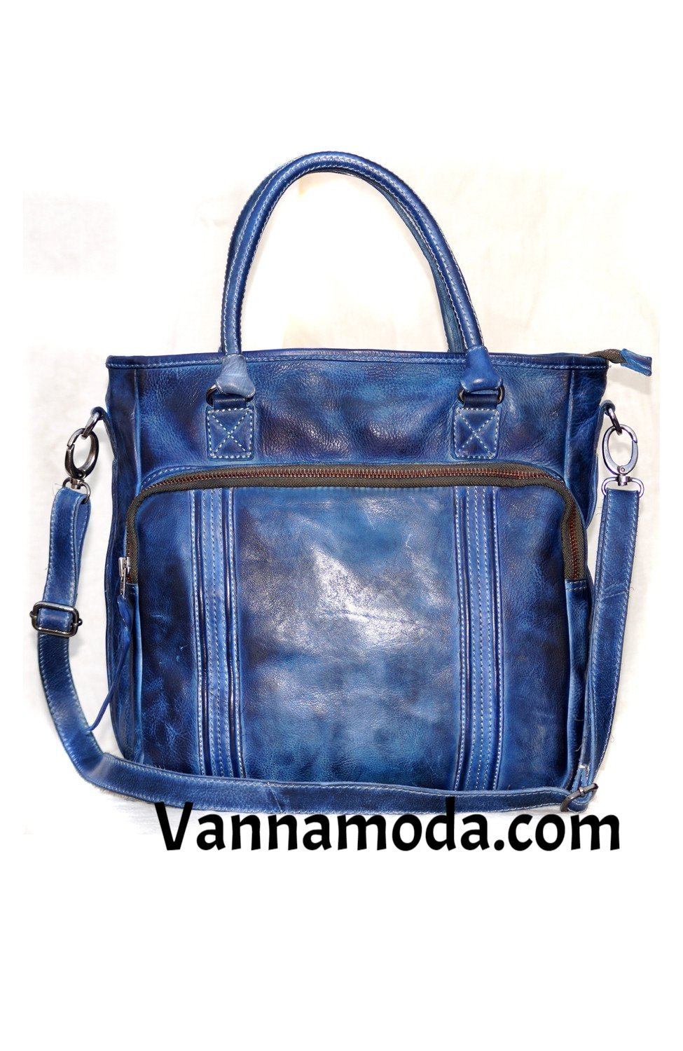 Hand Colored Washed Real Leather Mens Hobo Bag