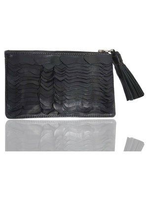 Leather Ladies Python Scales Clutch Bag Black, Ladies Clutch Bags - CrabRocks, LeatherfashionOnline  - 3