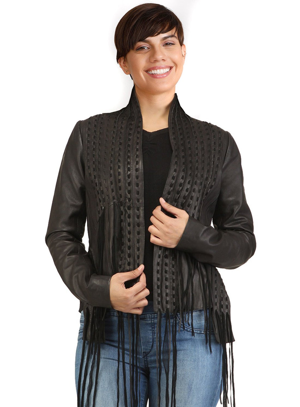Designer Women Hand Woven Fringed Leather Jacket With Long/ No Tassels