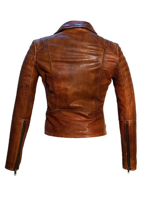 Women Leather Biker Jacket , Women Jacket - CrabRocks, LeatherfashionOnline  - 2
