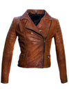 Women Leather Biker Jacket , Women Jacket - CrabRocks, LeatherfashionOnline  - 3