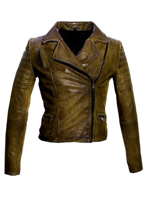 Women Leather Biker Jacket , Women Jacket - CrabRocks, LeatherfashionOnline  - 6
