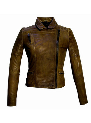 Women Leather Biker Jacket , Women Jacket - CrabRocks, LeatherfashionOnline  - 7