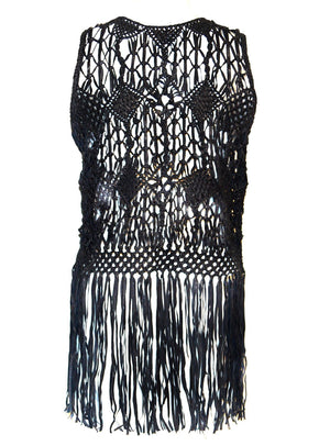 HandMade Macrame Leather Woven Women Top with Long Fringes