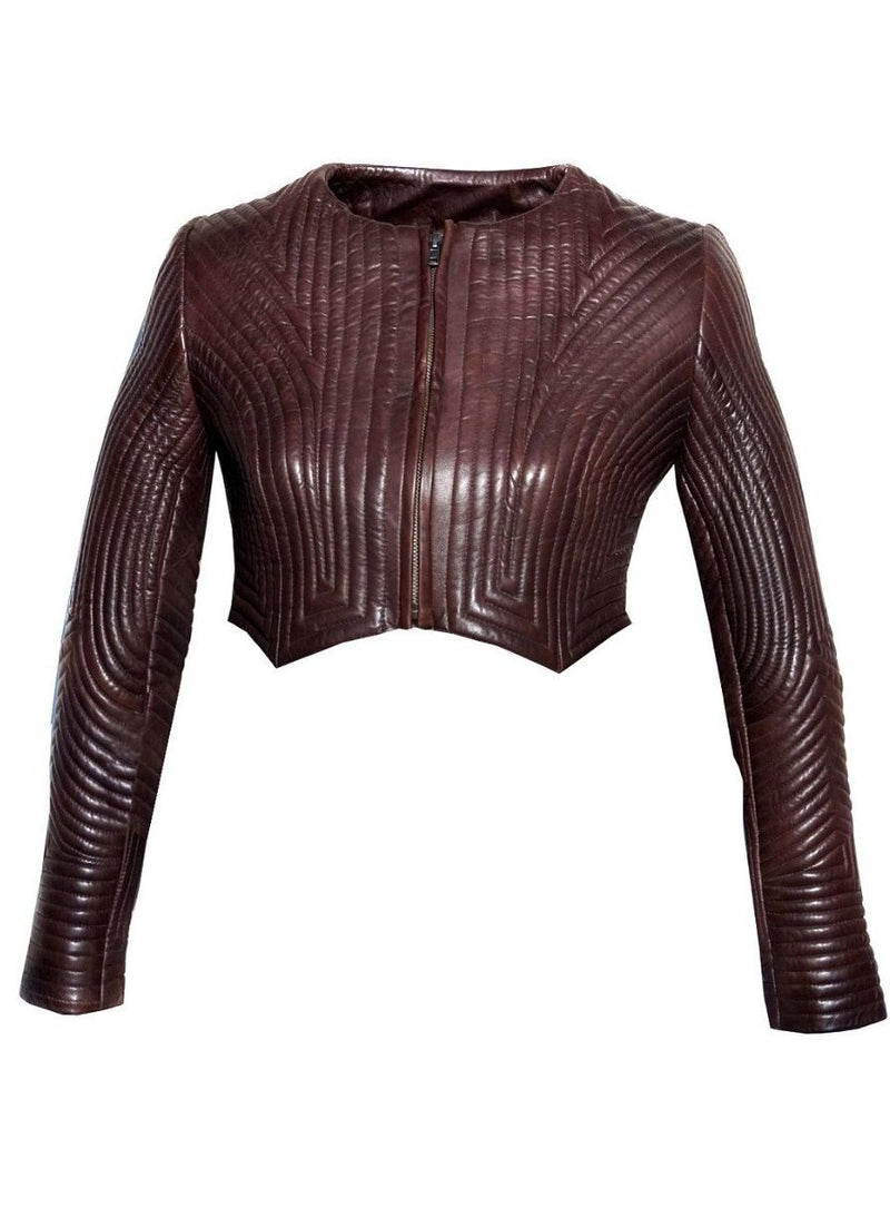 VannaModa Designer Multi Quilted Leather Cropped Jacket with Washed Vintage Look