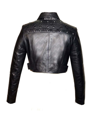 Designer Quilted Motorcycle Biker Cropped Leather Women Jacket