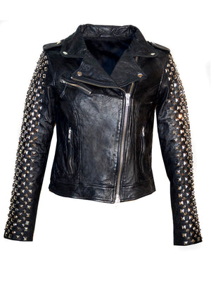 Kishi Women Leather Biker Jacket with Multi Studs at sleeves
