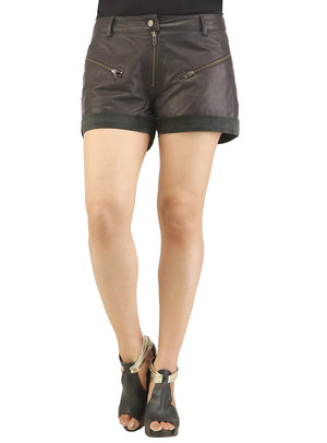 Women Leather Casual Sport Shorts S / Leather / Black, Ladies Leather Shorts - CrabRocks, LeatherfashionOnline  - 1