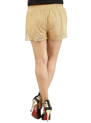 Designer Women Leather Lace Shorts , Ladies Leather Shorts - CrabRocks, LeatherfashionOnline  - 3