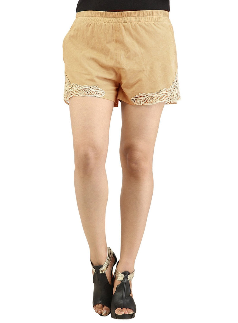 Designer Women Leather Lace Shorts S / Leather / Beige, Ladies Leather Shorts - CrabRocks, LeatherfashionOnline  - 1