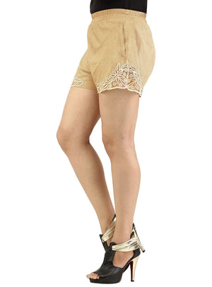 Designer Women Leather Lace Shorts , Ladies Leather Shorts - CrabRocks, LeatherfashionOnline  - 2