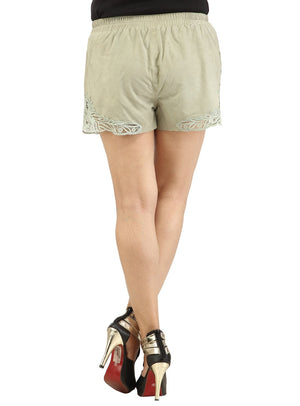 Designer Women Leather Lace Shorts , Ladies Leather Shorts - CrabRocks, LeatherfashionOnline  - 6