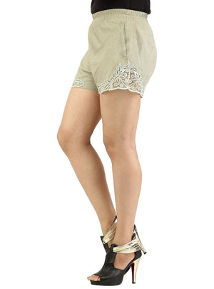 Designer Women Leather Lace Shorts , Ladies Leather Shorts - CrabRocks, LeatherfashionOnline  - 5