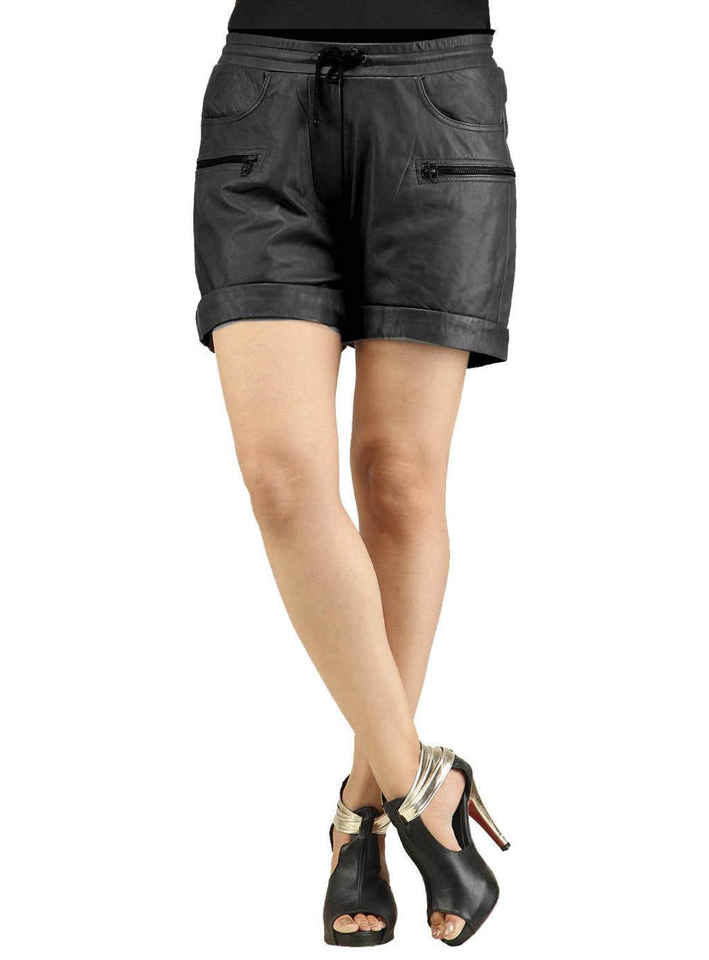 Ladies Leather Casual Shorts S / Leather / Black, Ladies Leather Shorts - CrabRocks, LeatherfashionOnline  - 1