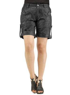 Ladies leather Sporty Cargo Shorts S / Leather / Black, Ladies Leather Shorts - CrabRocks, LeatherfashionOnline  - 1