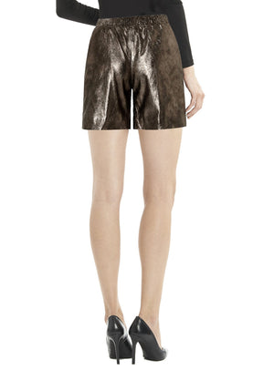 Women Elasticated Leather Shorts , Ladies Leather Shorts - CrabRocks, LeatherfashionOnline  - 2