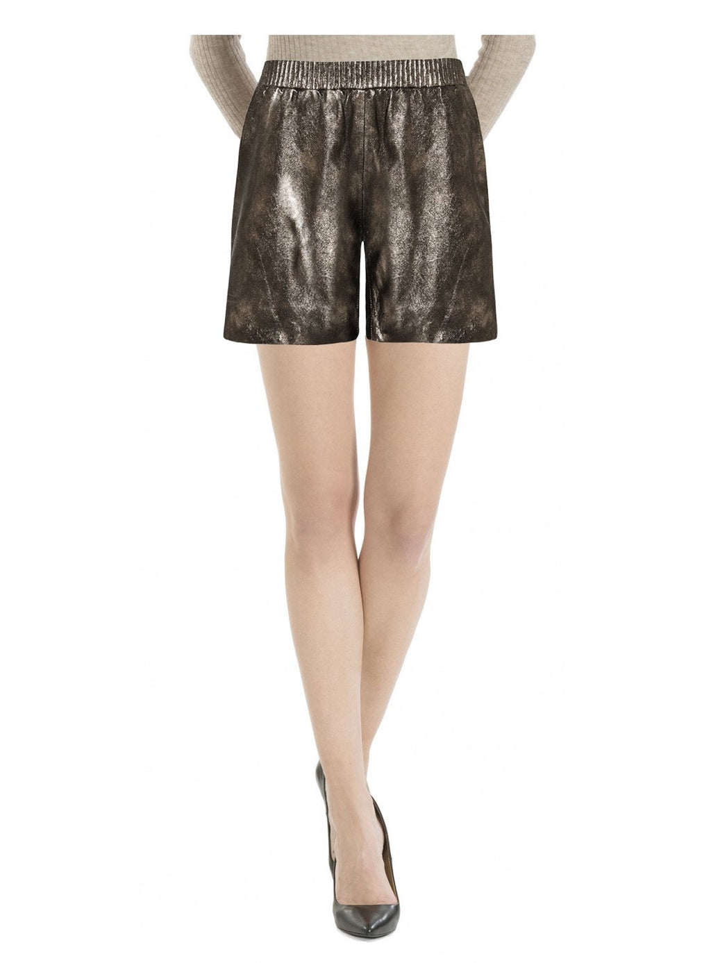 Women Elasticated Leather Shorts S / Leather / Grey, Ladies Leather Shorts - CrabRocks, LeatherfashionOnline  - 1