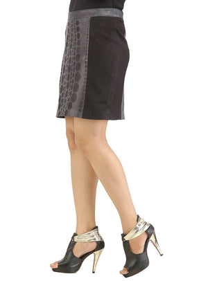 Women Designer Laser Printing Fitted Leather Skirt , Women Leather Skirt - CrabRocks, LeatherfashionOnline  - 2