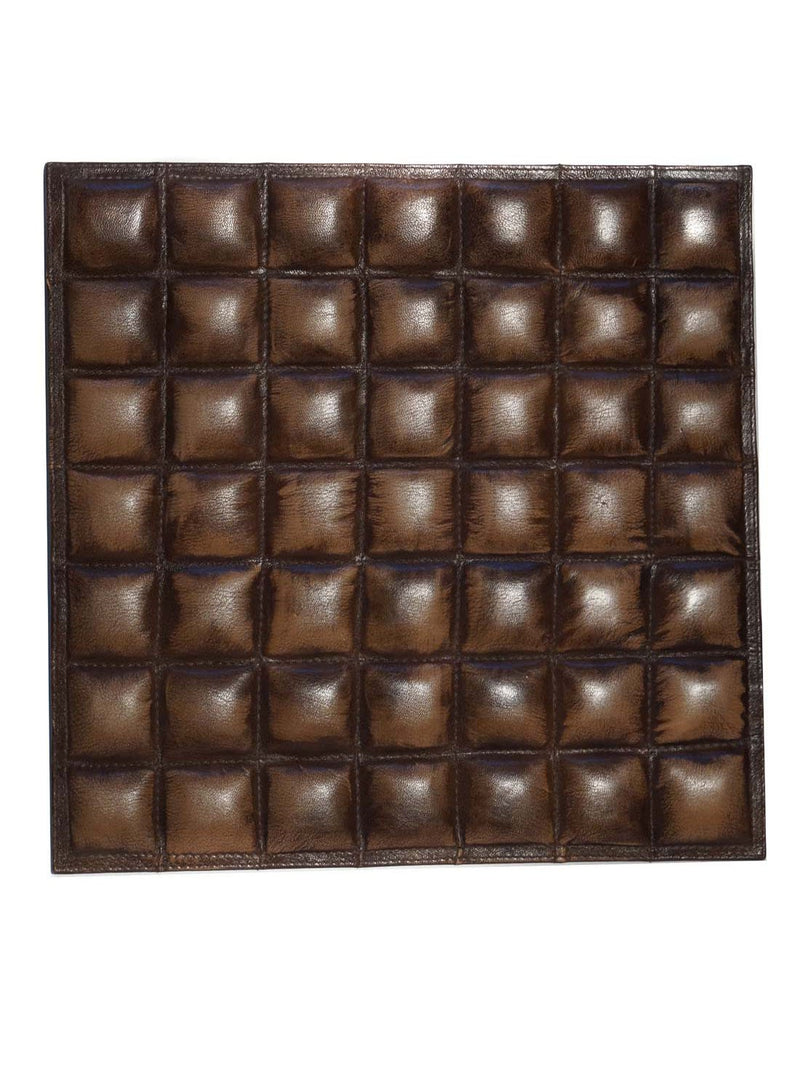 Leather Designer Multi Cubes Decorative Wall Tiles Brown, Leather Tiles - CrabRocks, LeatherfashionOnline  - 1