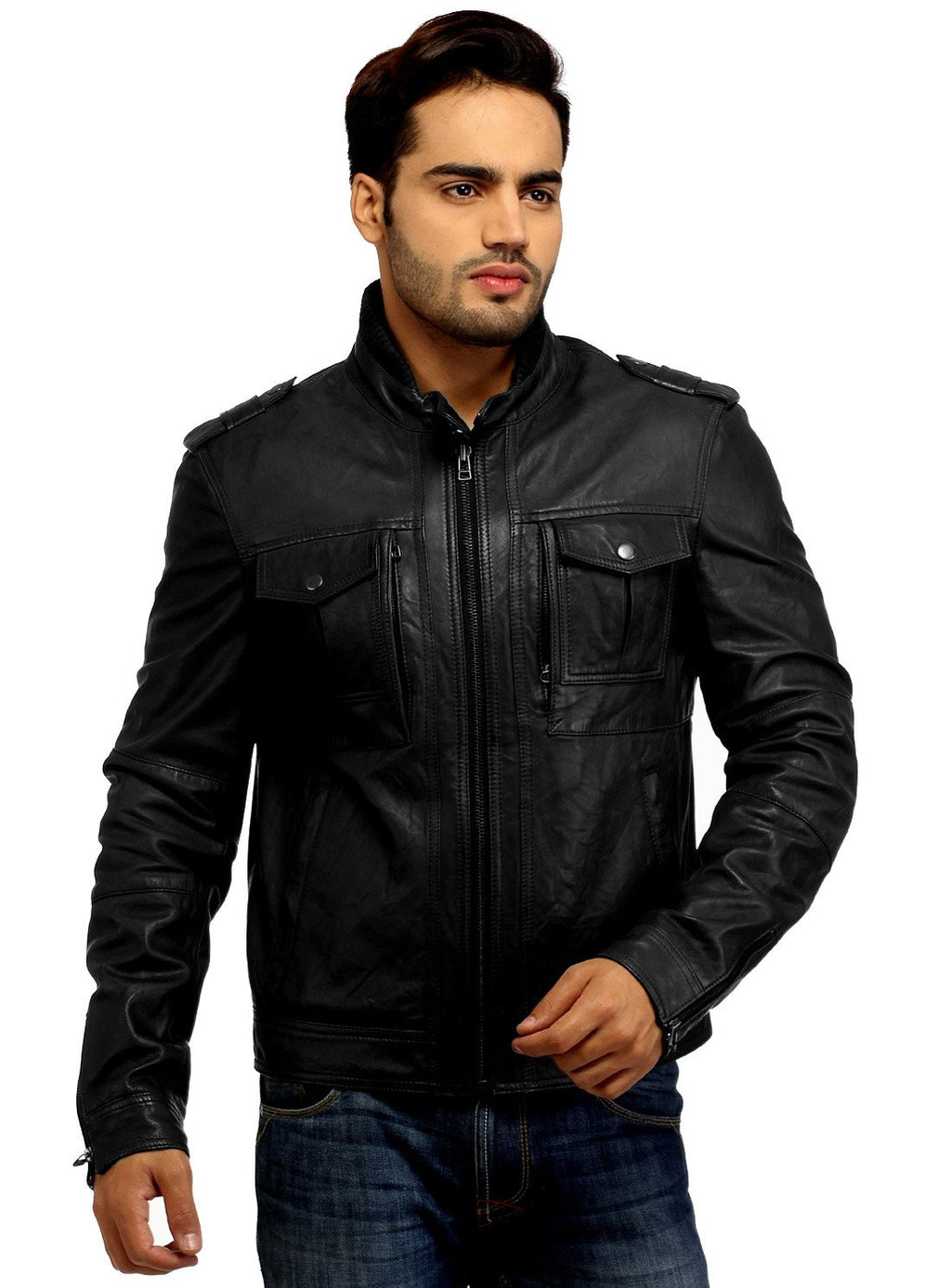 Men's Best Seller Short Leather Motorcycle Biker Jacket S / Leather / Black, Men Jacket - CrabRocks, LeatherfashionOnline  - 1