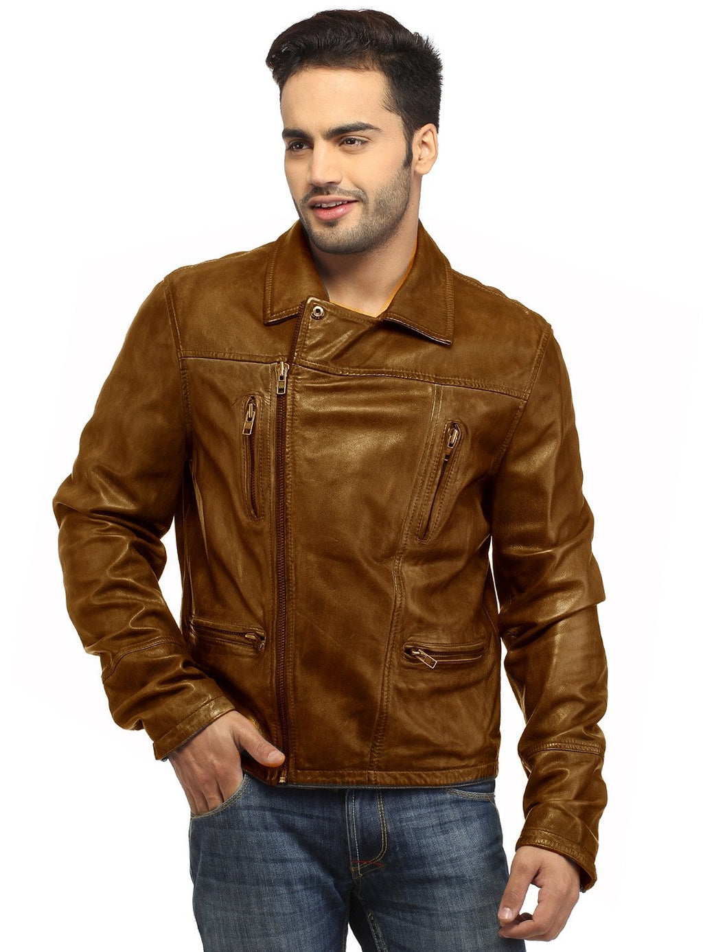 Men Leather Hand Padded Lamb Vintage MotorCycle Biker Jacket XS / LEATHER / Tan Brown, Men Jacket - CrabRocks, LeatherfashionOnline  - 1