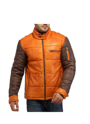 ALASKA F- BEST SELLER MEN LEATHER PUFFER JACKET WITH FABRIC