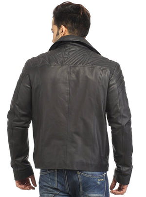 Men Leather Asymmetrical Quilted Biker Jacket , Men Jacket - CrabRocks, LeatherfashionOnline  - 3