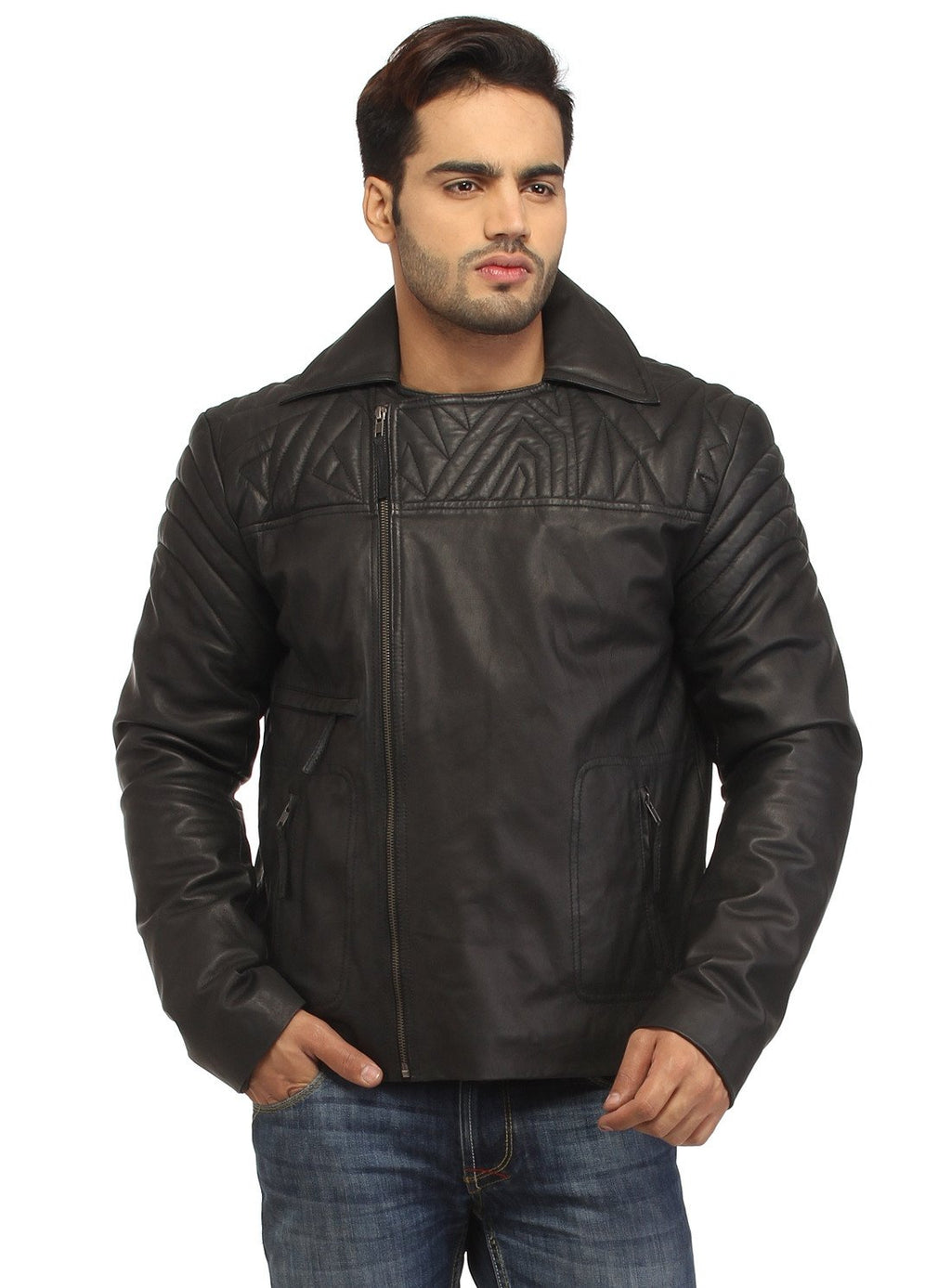Men Leather Asymmetrical Quilted Biker Jacket , Men Jacket - CrabRocks, LeatherfashionOnline  - 1