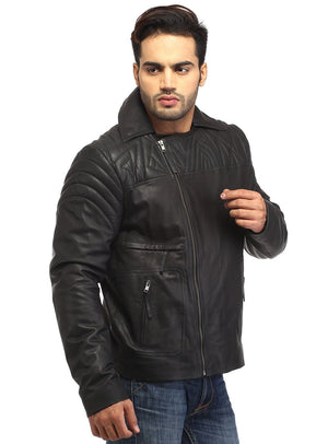 Men Leather Asymmetrical Quilted Biker Jacket XS / LEATHER / Black, Men Jacket - CrabRocks, LeatherfashionOnline  - 2