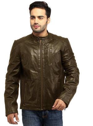Men Straight Fitted Leather Biker Casual Jacket S / Leather / Brown, Men Jacket - CrabRocks, LeatherfashionOnline  - 2