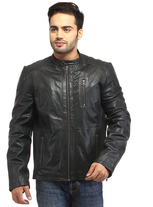 Men Straight Fitted Leather Biker Casual Jacket S / Leather / Black, Men Jacket - CrabRocks, LeatherfashionOnline  - 1