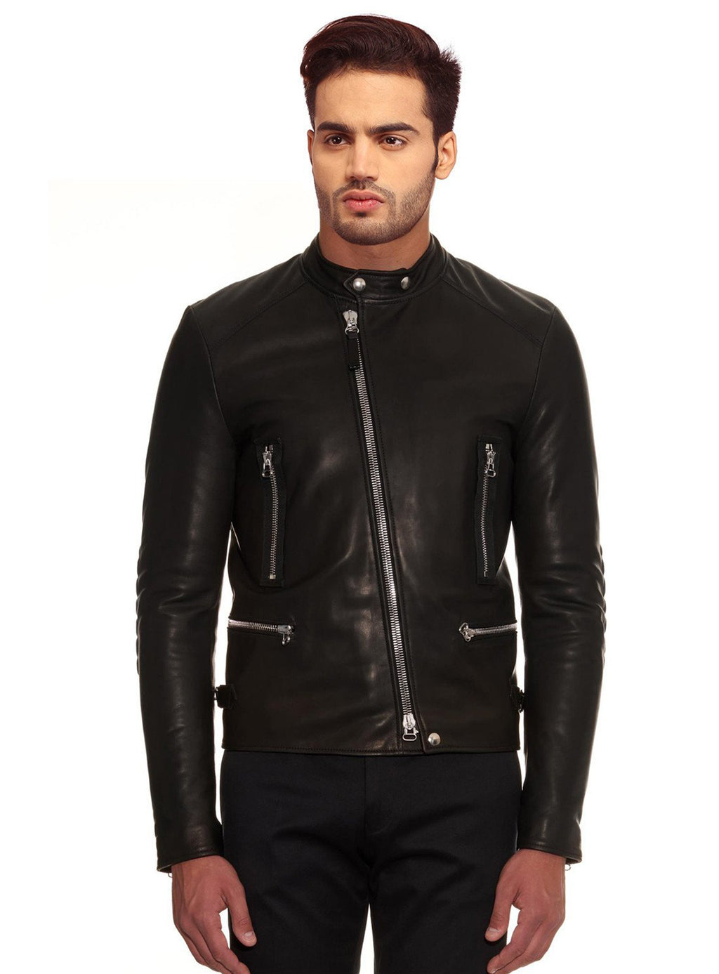 MEN LEATHER MOTORCYCLE JACKET MODEL MJ 071