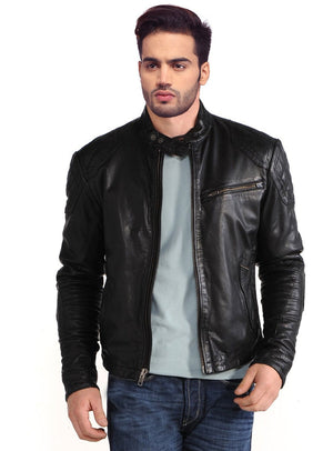 Men Vintage Motorcycle Leather Jacket Quilted Crowns