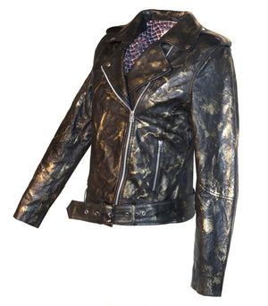 Vintage Golden Abstract Women Classic Biker Leather Jacket