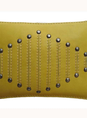 Yellow Clutch Bag With Rivets and Long Tassels